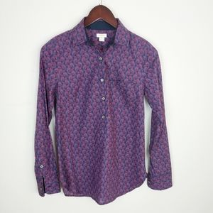 J crew Paisley cotton  half button up